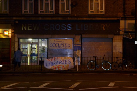 Banners outside New Cross library occupation, 5 Feb 2011, 22.00
