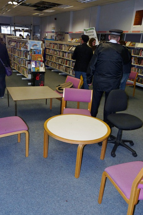 No trace of the occupiers' breakfast, games, reading material etc. remained by the time they left the library: this photo was taken at 11.59 on 6 Feb