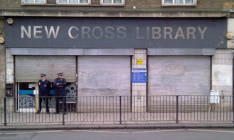New Cross library just after the protesters had all departed, 12.10, 6 Feb