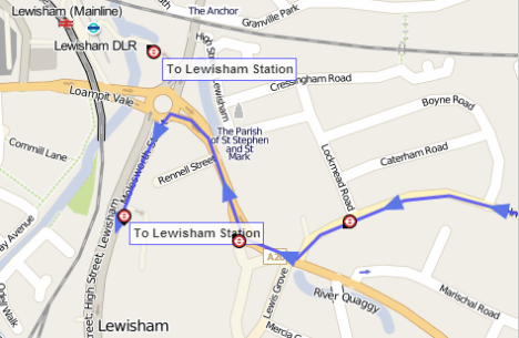 Lewisham terminus of the 108 route from 1 March 2014