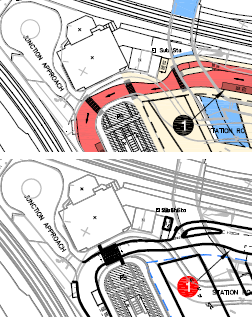 Station Road crossings before and after the change of plan in early 2013