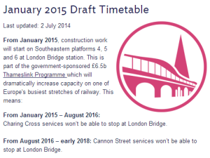 Screenshot of Southeastern January 2015 draft timetable web site